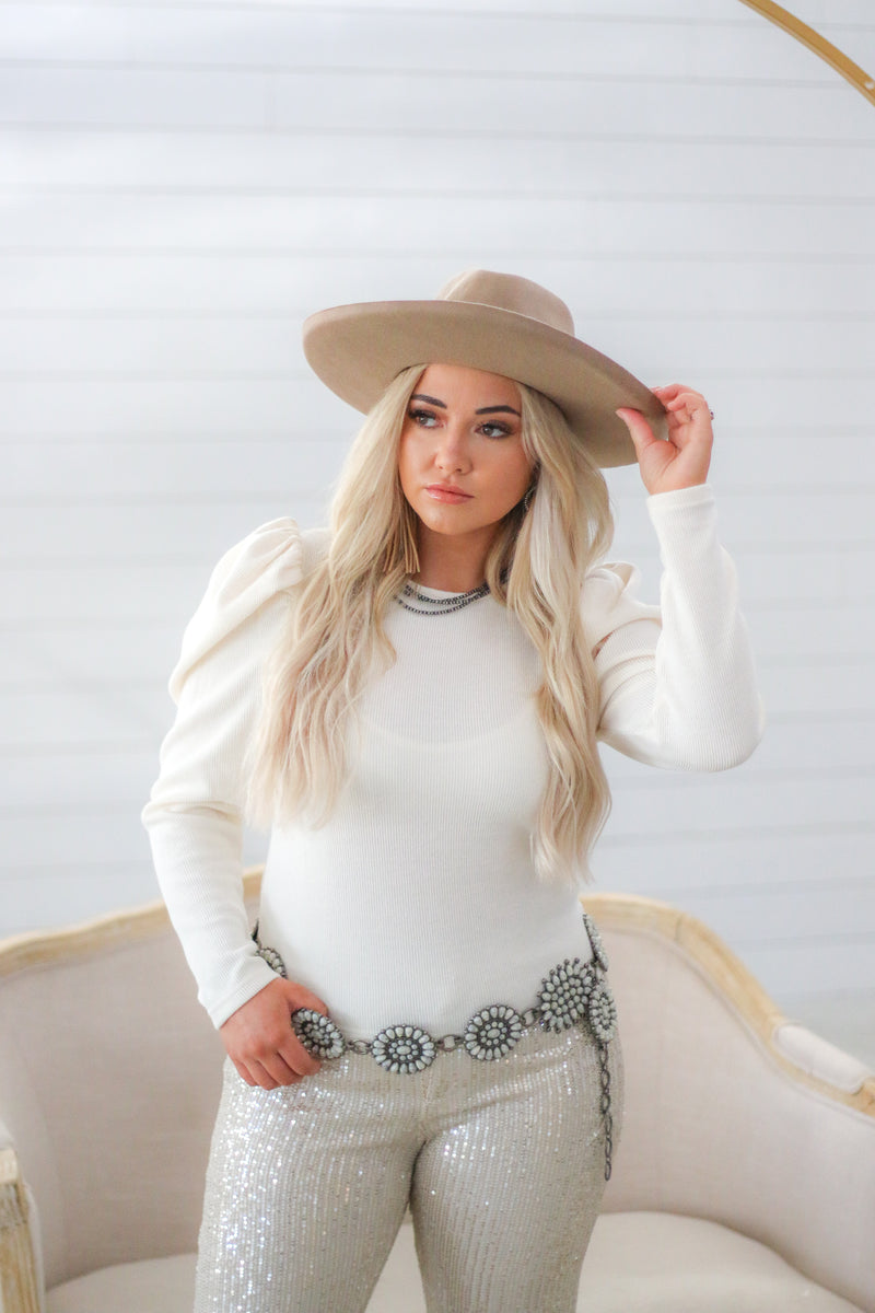 The Cowgirl Puff Sleeve Top (Cream)