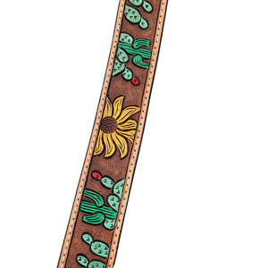 Cactus Tooled Leather Purse Strap