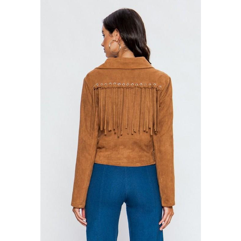Miss Thing - Fringe Jacket (camel)