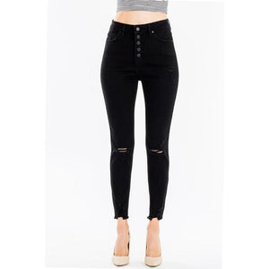 Denim Darlin High Waist Distressed Jeans (black)