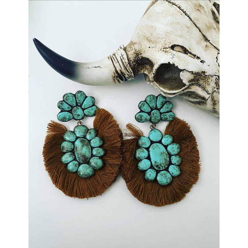 Next Big Thing Turquoise Earrings (mustard)