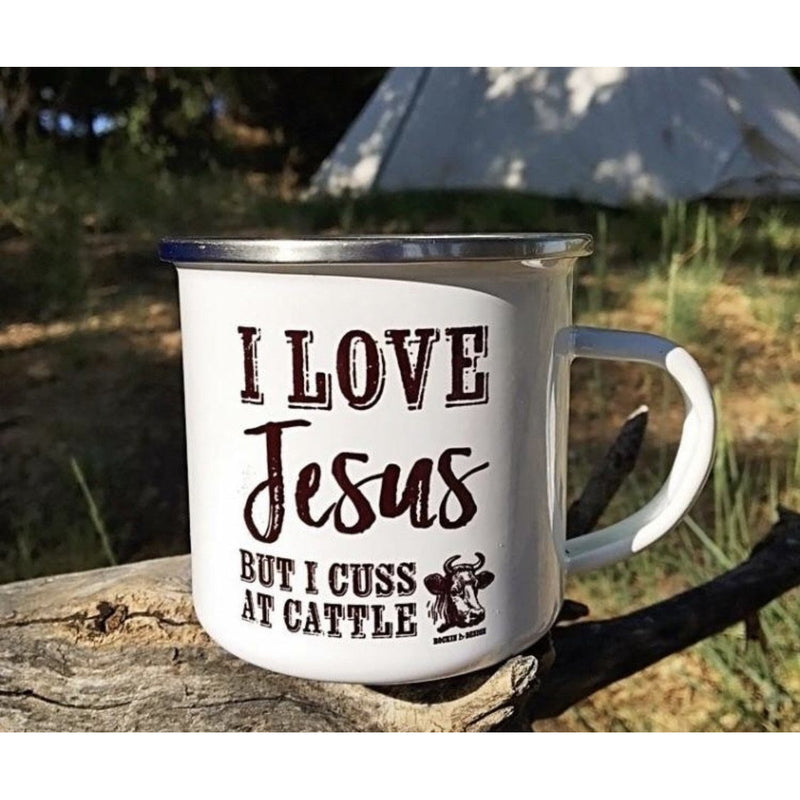 I love Jesus but I cuss at cattle campfire cup