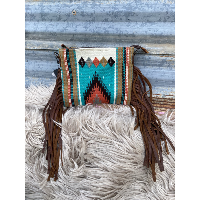 Simple Cowboy Saddle Blanket Purse (white/corral)