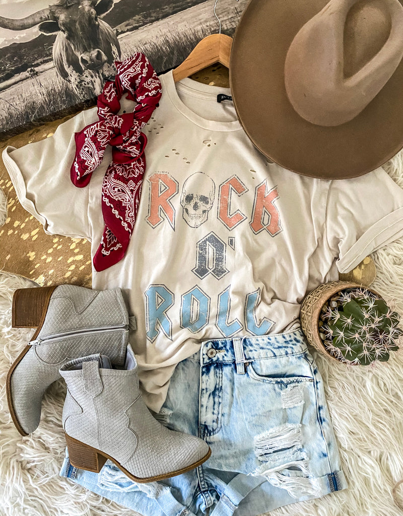 Rock n roll  Distressed Tee (vintage )