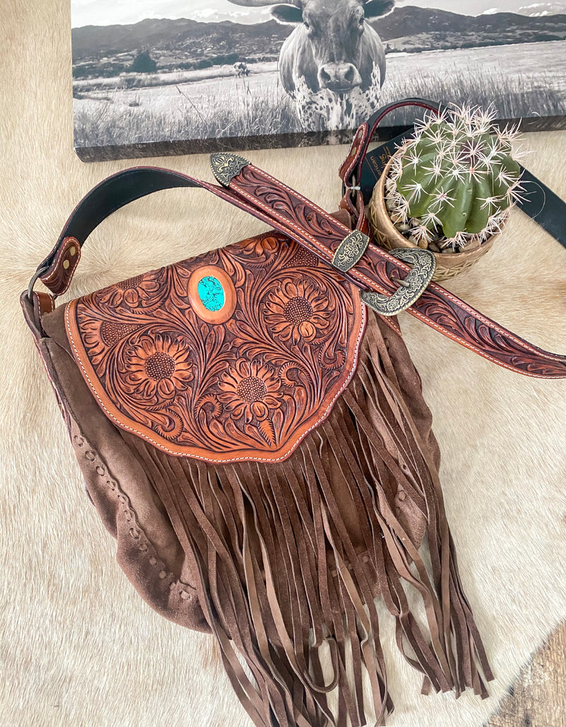 Queen Of Fringe Tooled Leather Purse