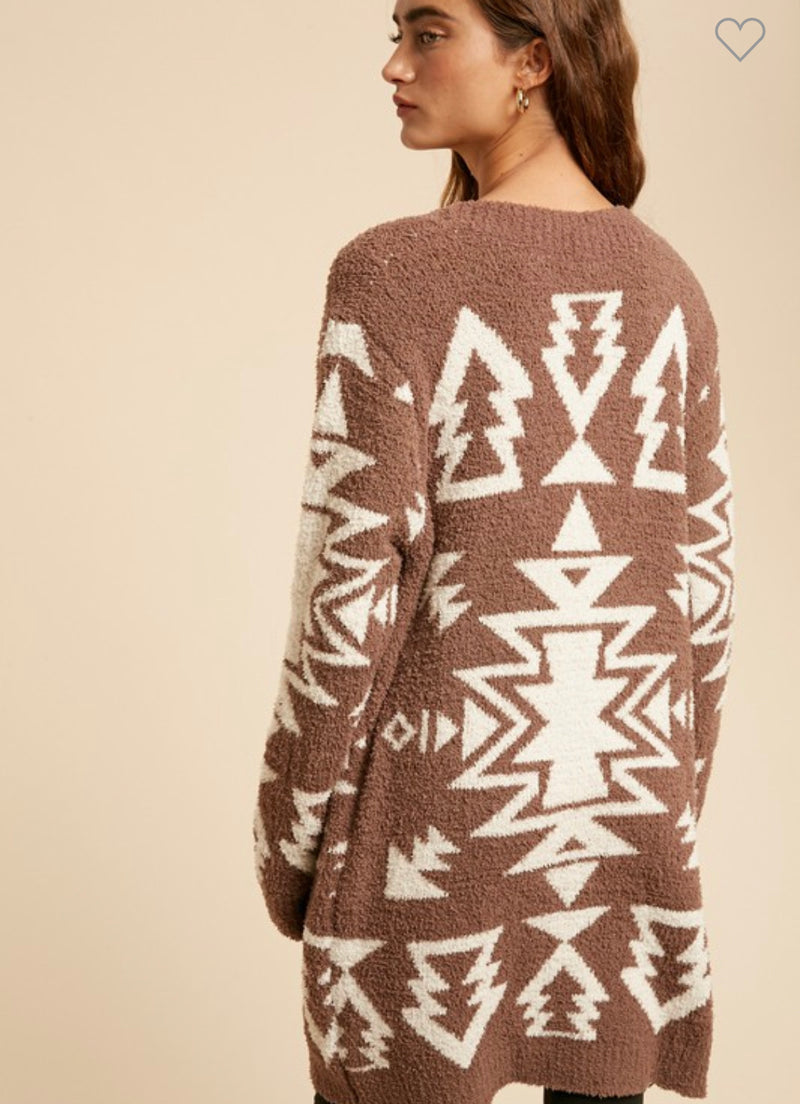 Copy of Mustang Sally Aztec Cardigan (chocolate )