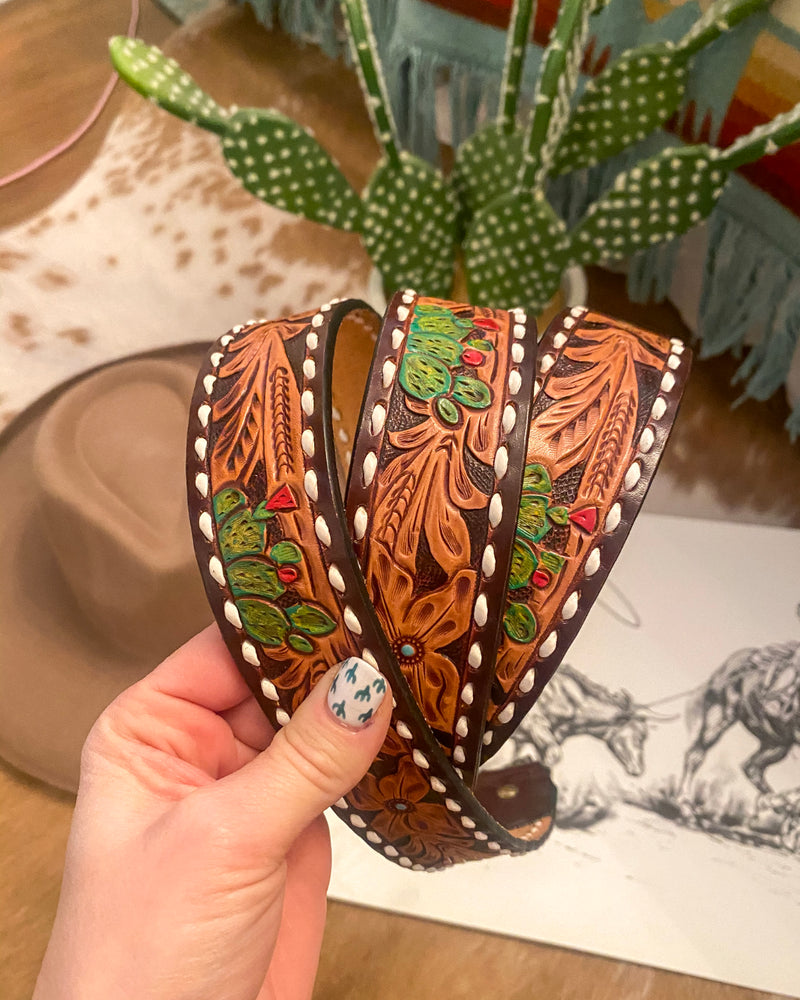 Tooled Cactus Desert Leather Purse Strap