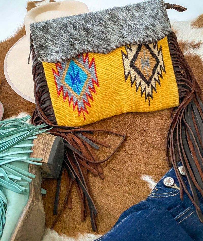 Extra Simple Cowboy  Saddle Blanket Purse (yellow)