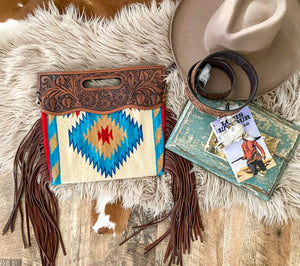 Twisted Clutch Style Saddle Blanket Purse