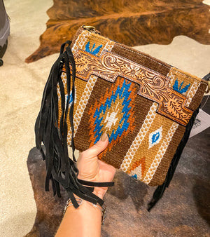 Fall Cowgirl Saddle Blanket Purse (brown)