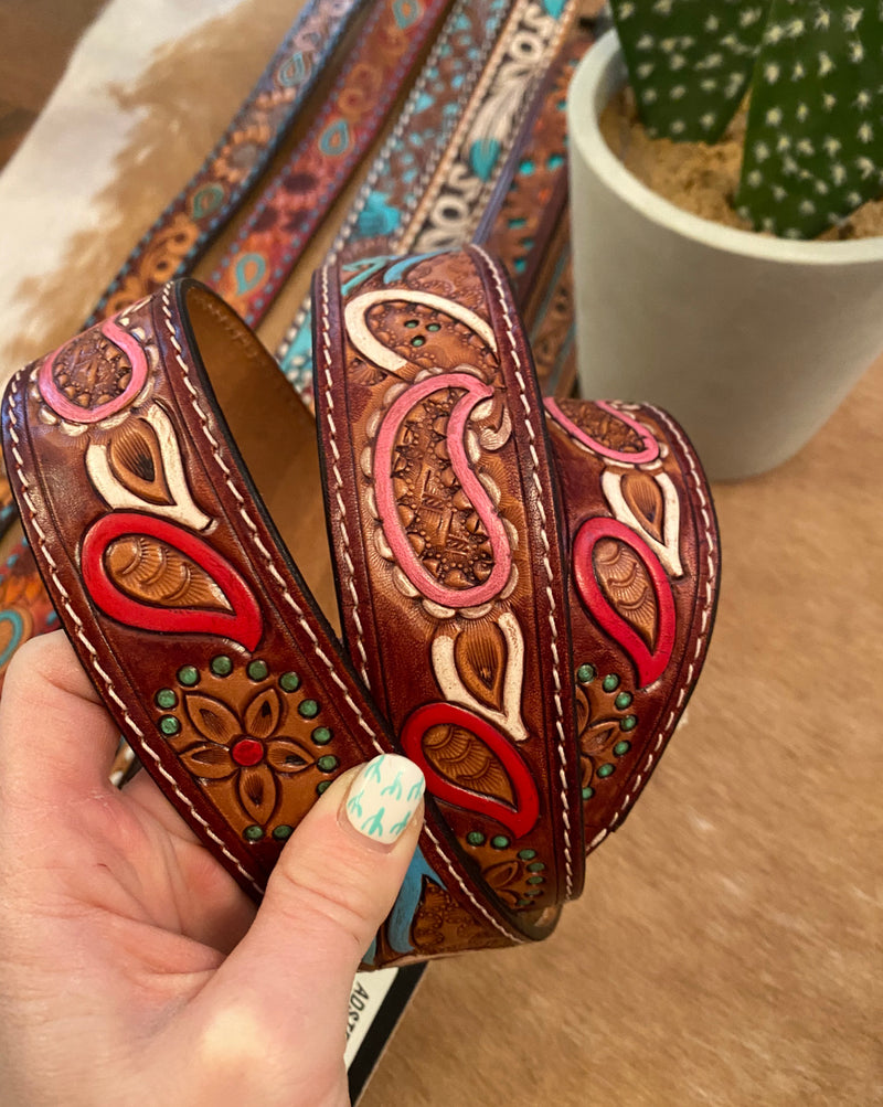 Colorful Paisley Leather Purse Strap (brown)