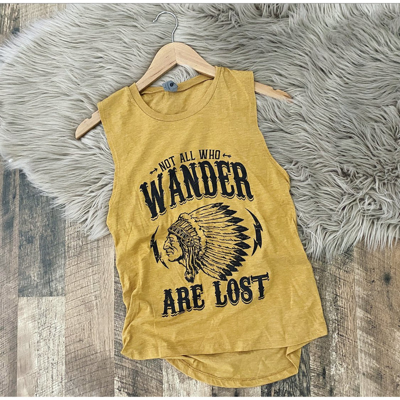 Not all who wander are lost (muscle tank)