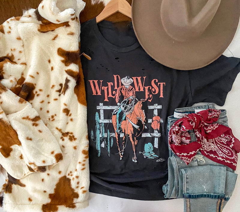 Wild West Cowboys Distressed Tee (black)