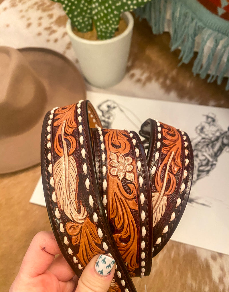 Feather In The Wind Tooled Leather Purse Strap