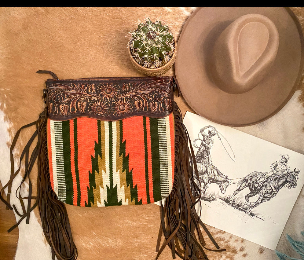 The Sunset tundra  Saddle Blanket Purse (corral)