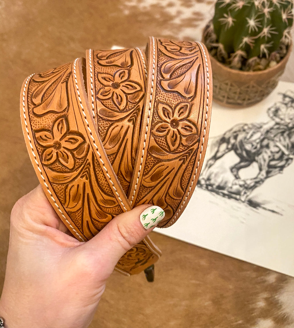 Easy Does It Tooled Leather Purse Strap
