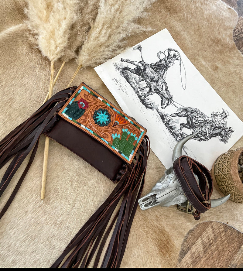 Bandita Tooled Leather Clutch