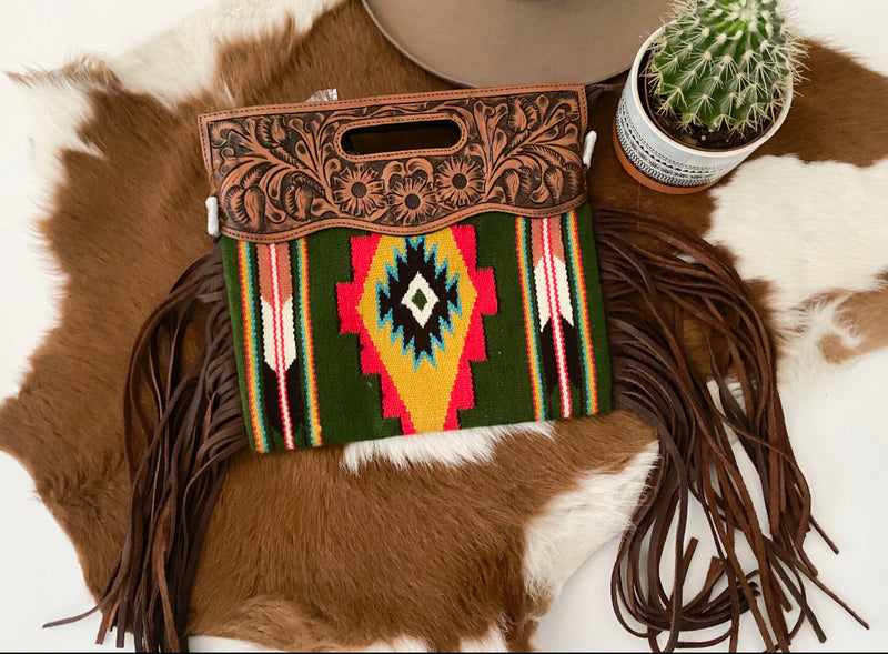 Green Clutch Style Saddle Blanket Purse