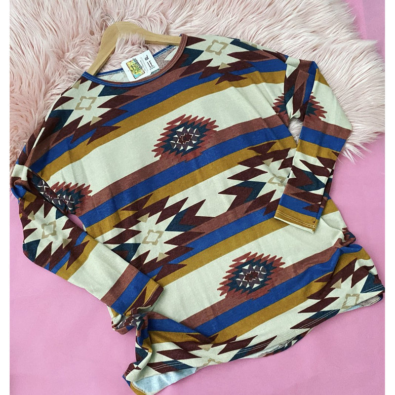 Long sleeve Cream Aztec top
