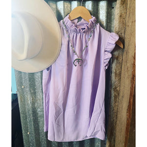 Lilac Mock Neck Blouse.