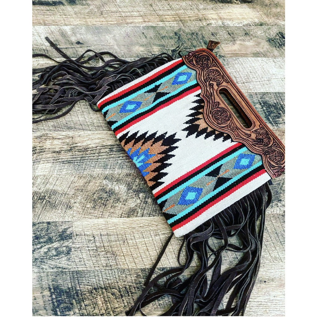 White Buffalo Bandit Clutch Style Saddle Blanket Purse