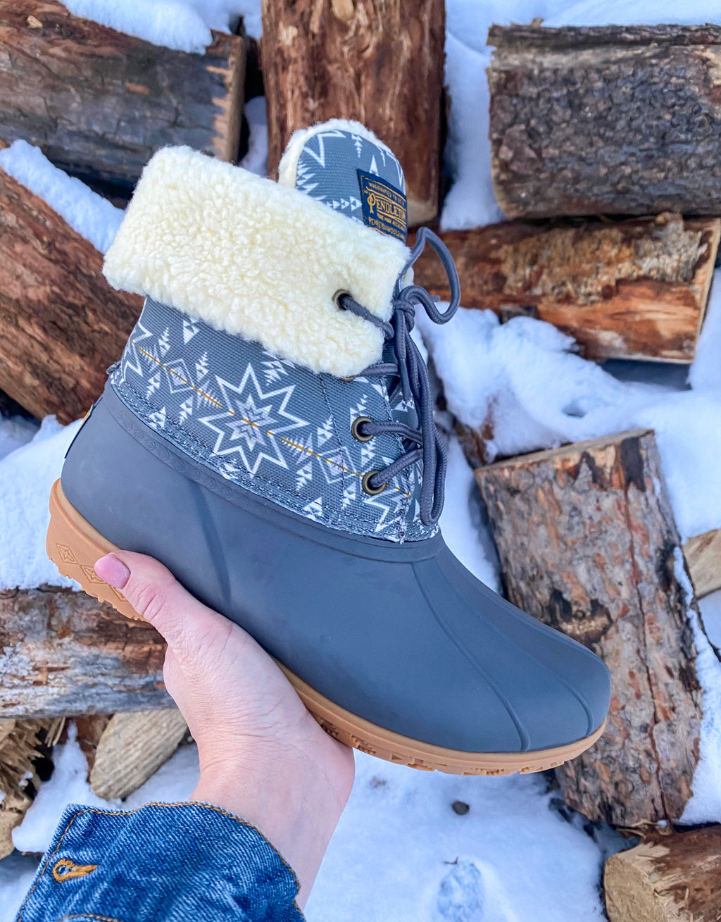 Lined Pendleton Boots - Grey