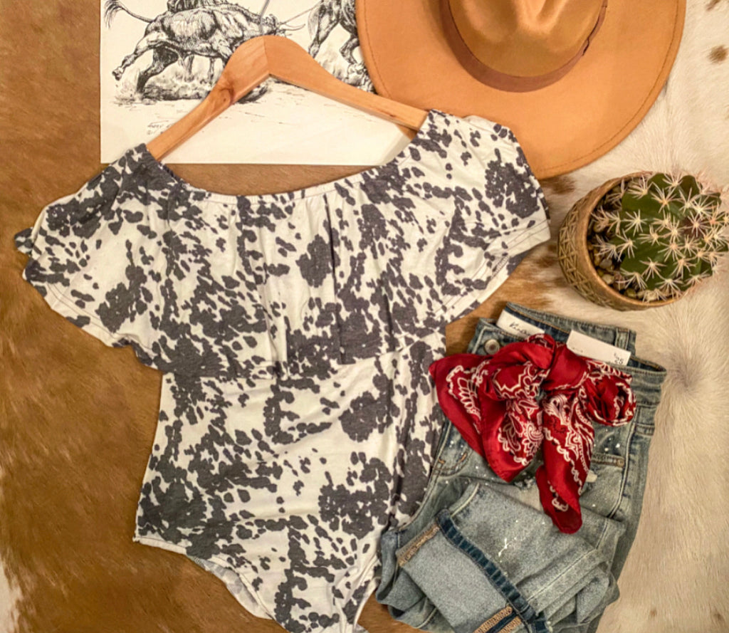 Off The Shoulder Bodysuit (cow)