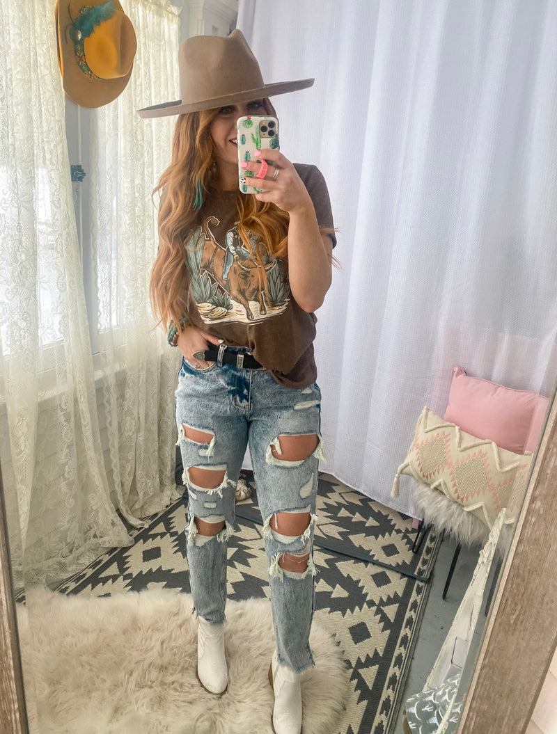 Denim Darlin (Retro wash) High Waist Distressed Jeans
