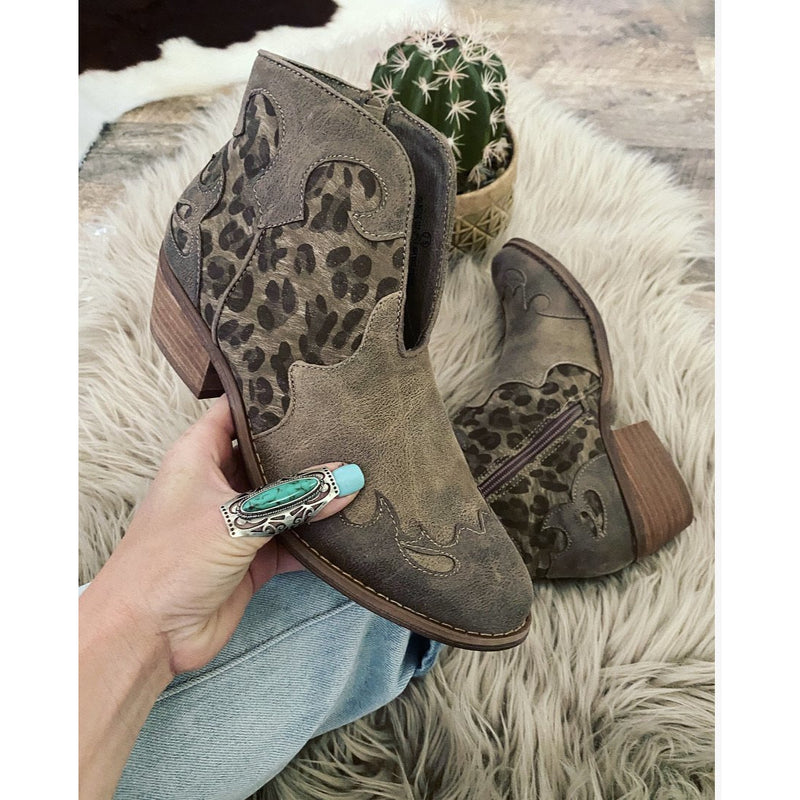 It's About To Get Western - Leopard Booties