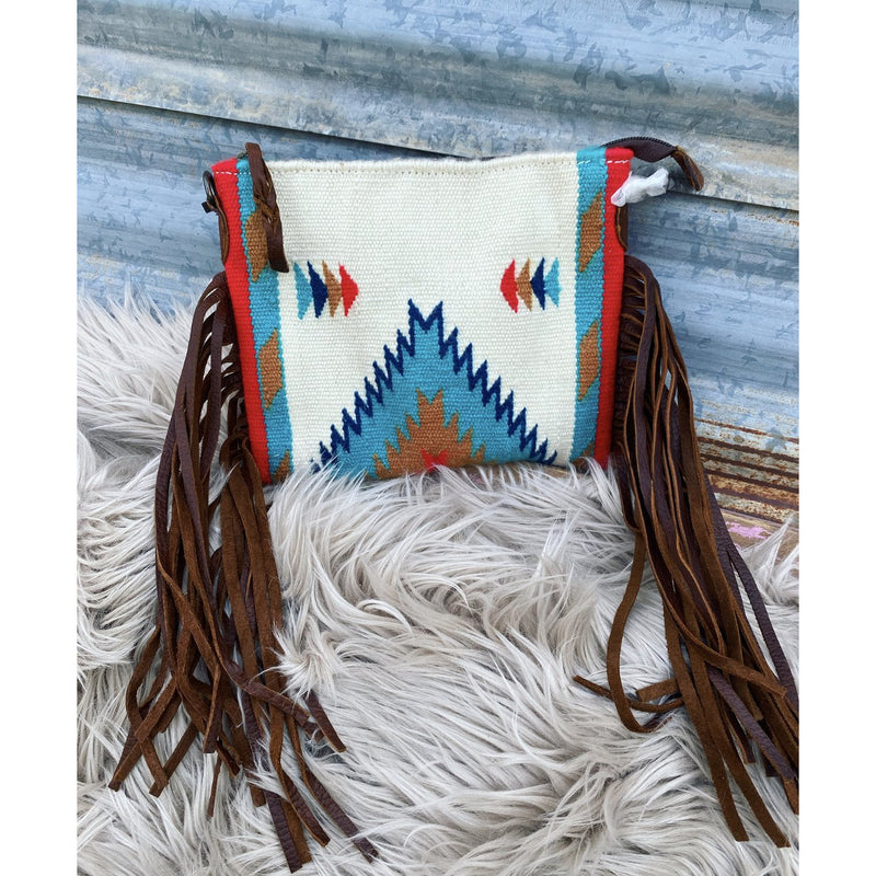Simple Saloon Saddle Blanket Purse (white /red)