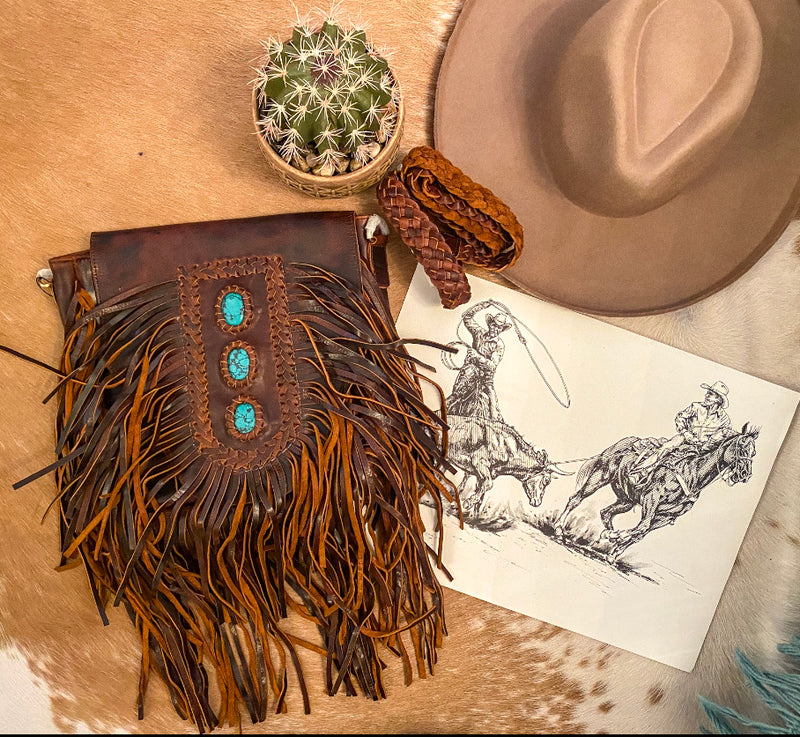 Turquoise & Fringe Leather Purse