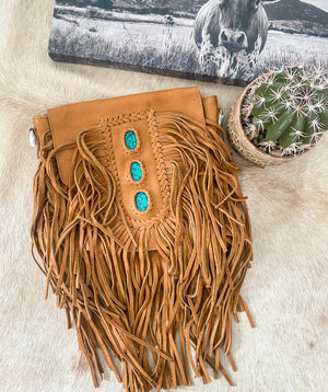 Turquoise & Fringe Leather Purse (Camel)