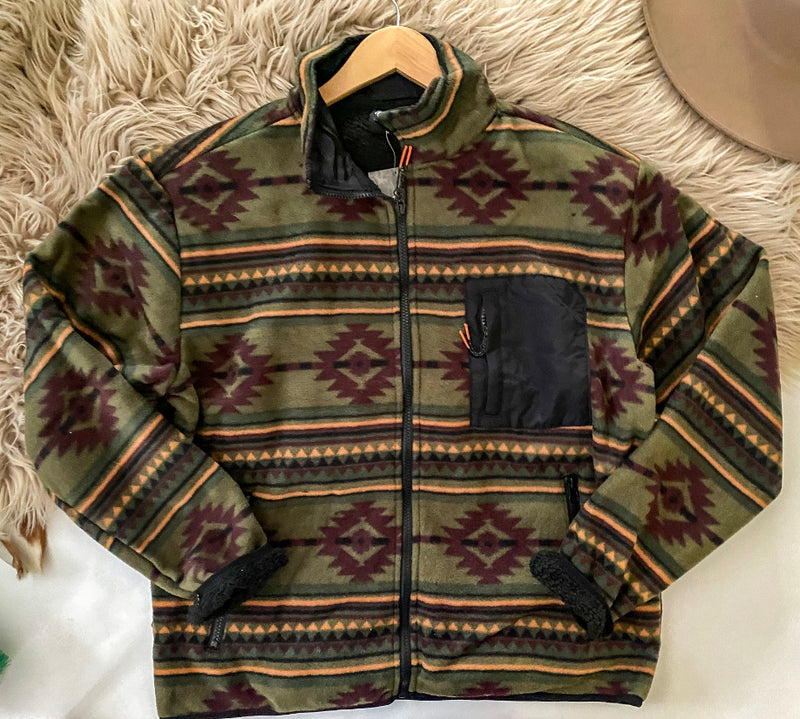 The Dawn Rider Geometric Jacket ((olive))