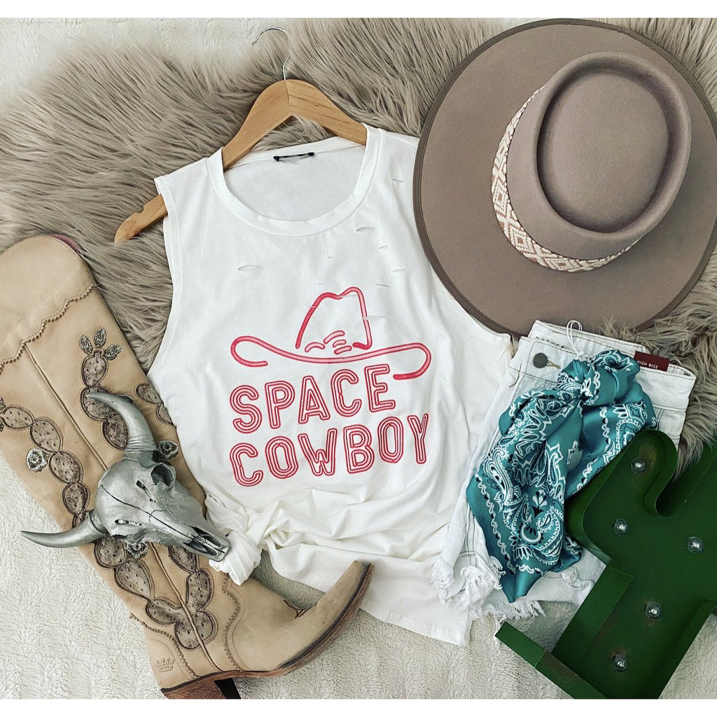Space Cowboy Distressed Tank (white)