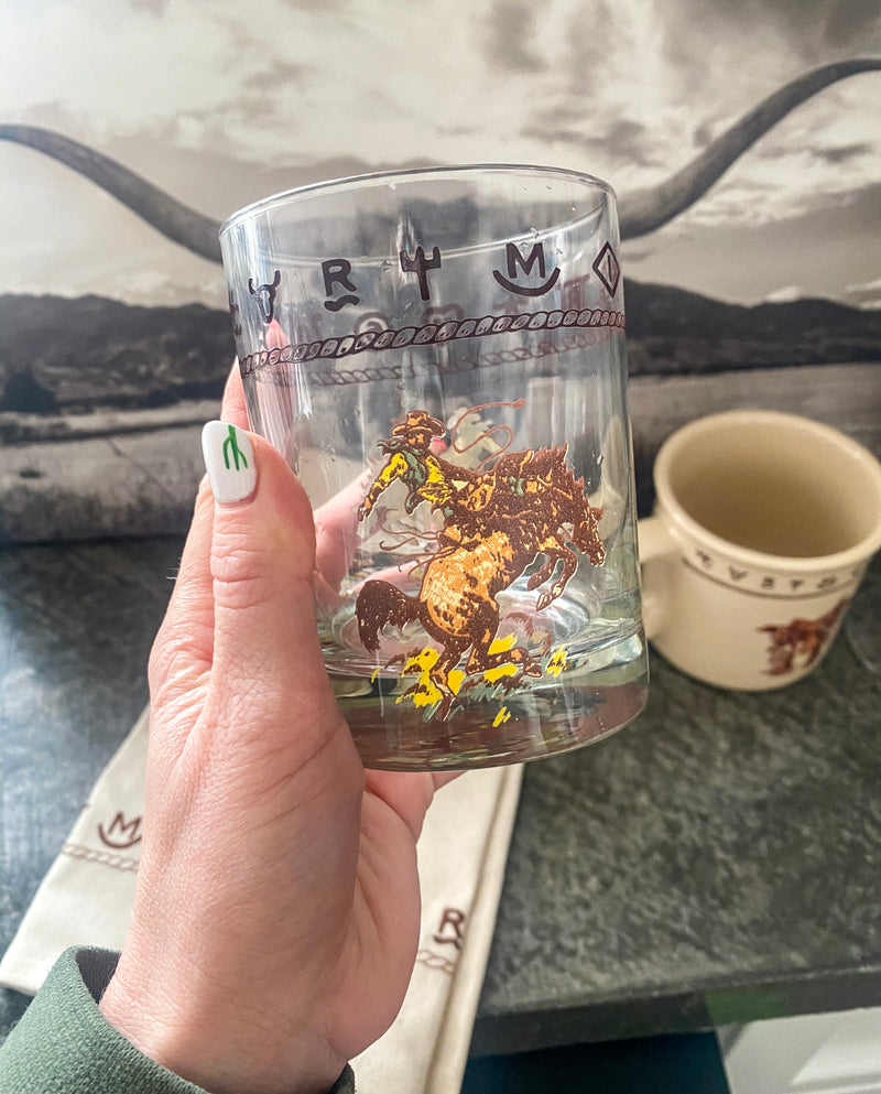 Riding for 8 - Buckin Horse Whiskey glass