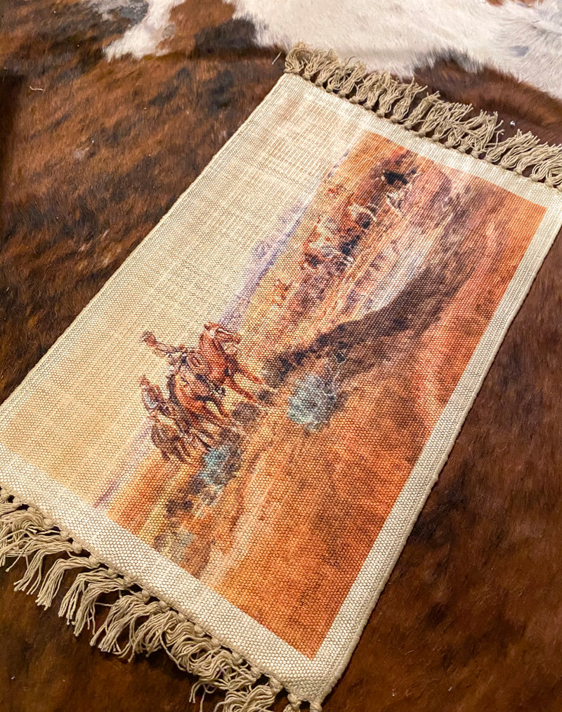 Digitally  Printed Cowboy On The Ridge Place Mat