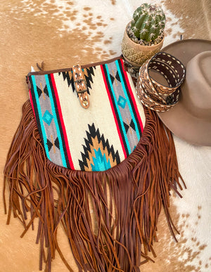 Extra On The Fringe White Buffalo Bandit Saddle Blanket Purse