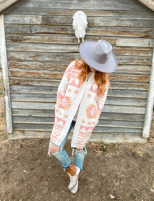 Extra On The AZtec Cardigan (pink)