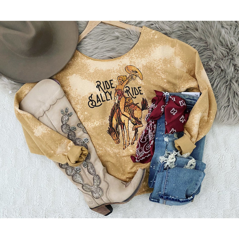 Ride Sally Ride Bleached crew neck (cut neck)