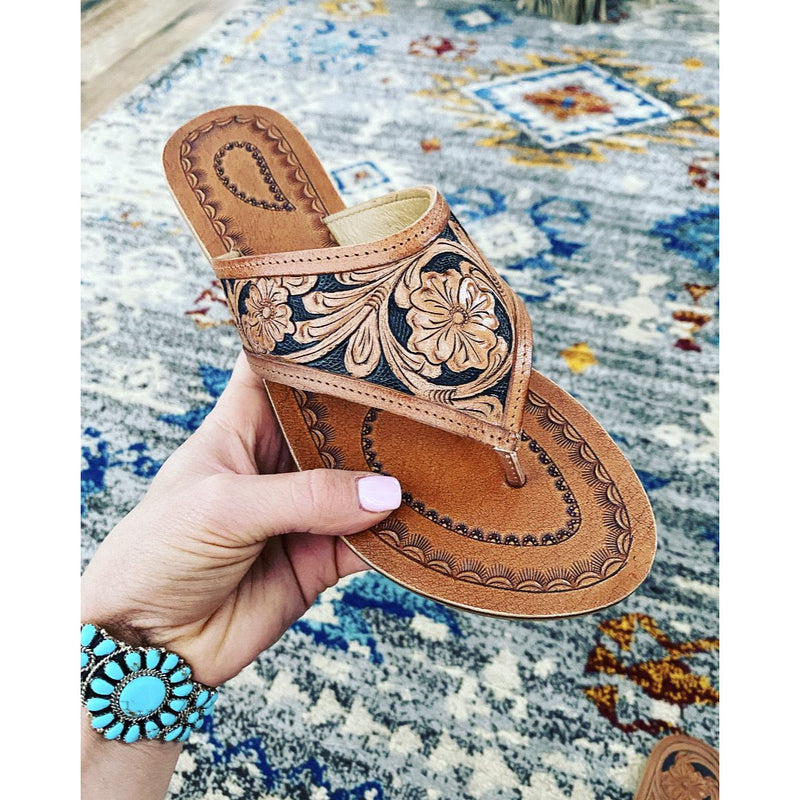Tooled Leather Sandal (road less traveled)