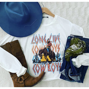 Long Live Cowboys Crop l/s Top (white)