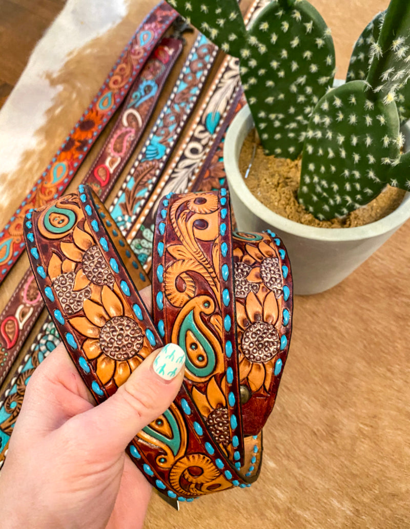Sunflower Paisley Leather Purse Strap (brown)