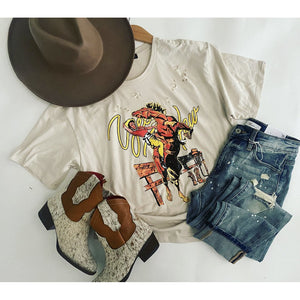 Ride Her Cowgirl Distressed Tee (taupe)