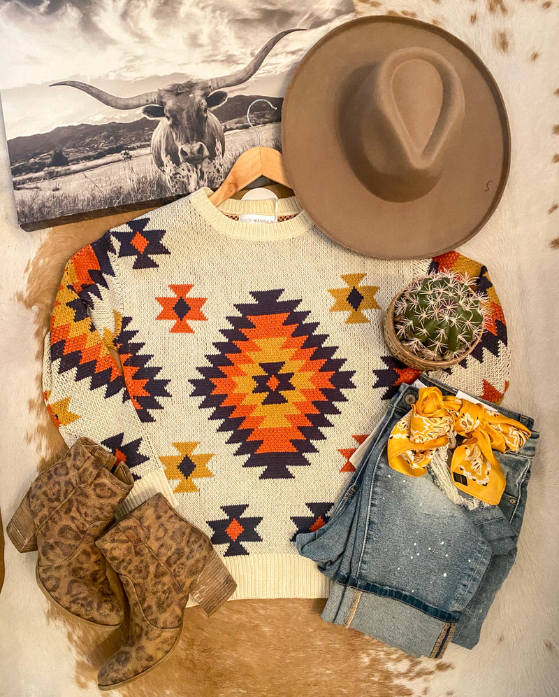 Desert Days Geometric  Sweater ((cream))