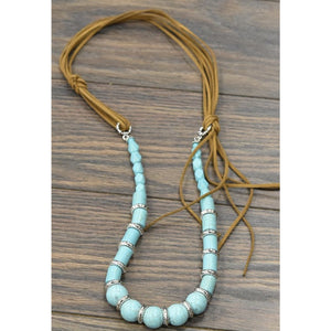 Suede Turquoise Beaded Necklace (single)