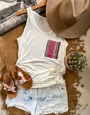 Serape Pocket Tank (white)