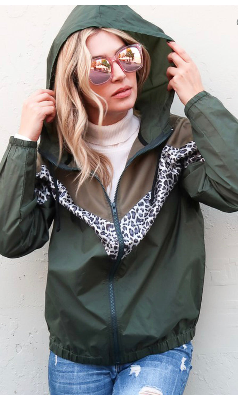 Leopard Colorblock Windbreaker