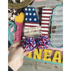 USA - Patriotic Pom Pom Earrings
