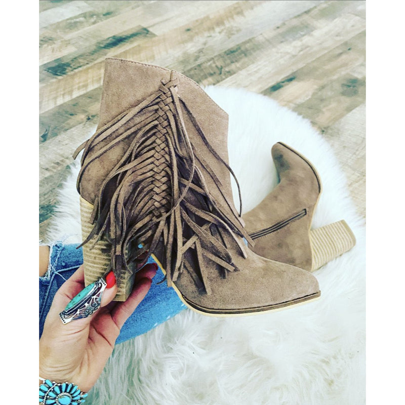 Fringe for life booties (taupe)