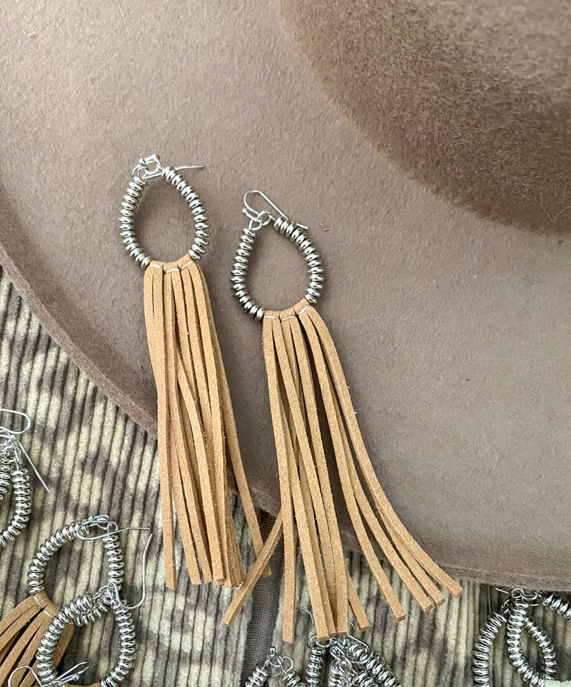 Fringe For Life Earrings (taupe)